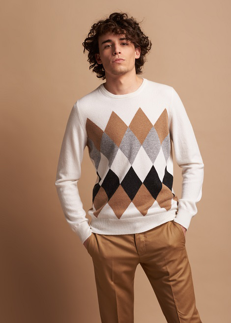 Argyle crewneck in pure cashmere